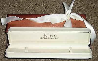JARED Galleria Jewelry Empty Bracelet Box White Faux Leather & Copper Ribbon