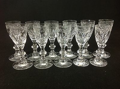 Hawkes Chilton ELEVEN Signed Antique Cordial Glasses Stunning Cut Crystal
