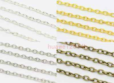 1/5/100m Silver Golden Plated Cable Open Link Iron Metal Chain Findings 4-Colors