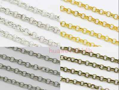 1/5/100Meters Round Rings 3mm Thickness Chains Fit Making Necklace Gold Silver