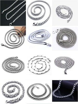 """men's women's necklace stainless steel chain link silver rope 22"""" 24"""" jewelry"""