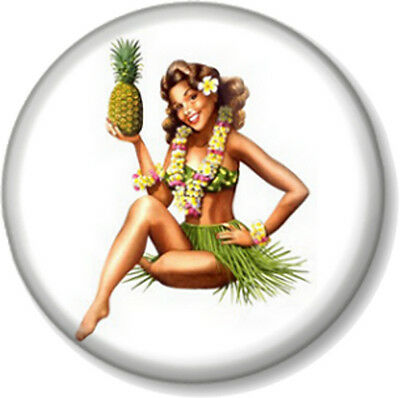 "Luau style Pin Up Girl 1"" 25mm Pin Button Badge Tiki style design kitsch Retro"