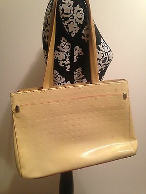 Arcaida Hand Bag Made In Italy Patent Leather Beige and Dark Red. Stunning.