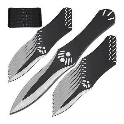 """12 Pc 6"""" Throwing Knife Set & Case, """"Assassin's Creed"""", Black Stainless (TK90BK)"""
