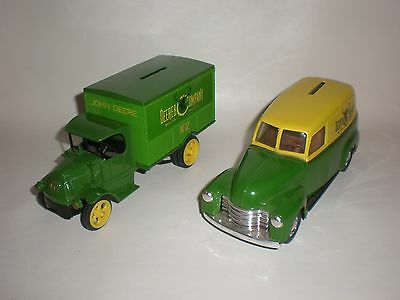 2 ERTL JOHN DEERE TOY BANK TRUCK AND CAR.# 1309 & 1169