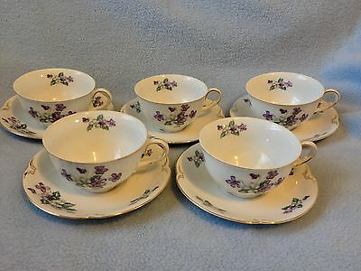 Lot of 5 Lovely CRESCENT VIOLA TEACUP & SAUCERS, Purple White Violets, Beautiful