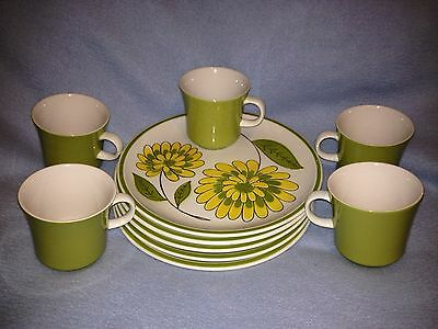 Vtg 10 PC Mikasa Cera-Stone Dessert Snack Luncheon Plate Cup Set -Very Beautiful