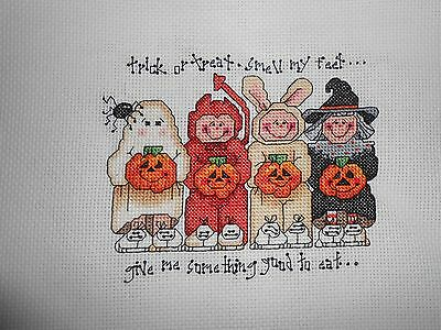 "Completed Cross-stitch-""TRICK OR TREAT"""