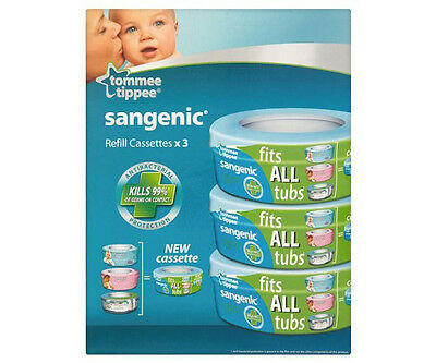 Tommee Tippee Sangenic Disposable System 3x Refill Cassettes Nappy Diaper BNIB