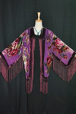 E0037 Purple Eastern Flower Burnout Silk Velvet Fringe Jacket Coat Duster