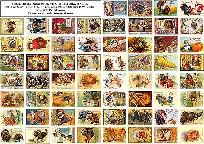 VINTAGE THANKSGIVING  POSTCARDS - – 60 all different  A6 ART CARD REPRODUCTIONS
