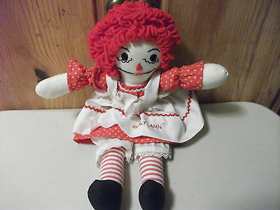 "Vintage 14"" Raggedy Ann Cloth Rag  Doll with ""I Love U"" Heart red & white dress"