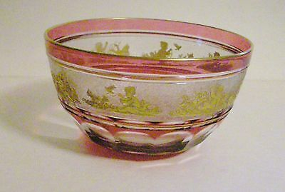 Val St Lambert Small Beaudoin Bowl - Children playing with Dog, etc.