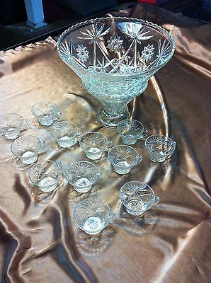 Anchor Hocking Star of David 14 Piece Complete Punch Bowl Set