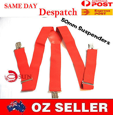 MENS MEN BRACES SUSPENDERS Red 50mm Wide WORK HEAVY DUTY BIKERS FISHING BRACES