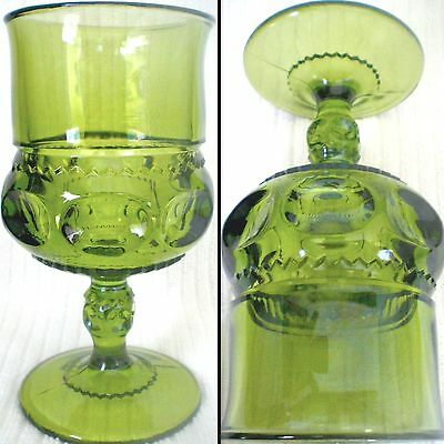 Vintage Olive Green Kings Crown Thumbprint Water Goblet Colony By Indiana Glass