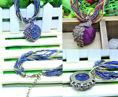 Fashion Latest Elegant Millet Chain Crystal Peacock Gem Opal Pendant Necklace