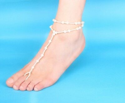 Pearl Wedding White Barefoot Sandal Anklet Bracelet Foot Chain Bridal Jewelry