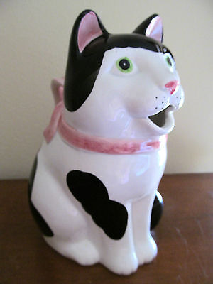 VINTAGE 1983 FITZ & FLOYD Hand Painted Ceramic Cat Milk or Water Pitcher