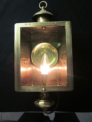 Vintage brass Belgian rewired 1 light bulb wall sconce colonial hanging lamp
