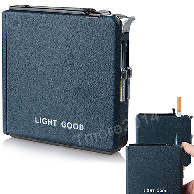 New Automatic Windproof Ejection Butane Cigarette Lighter Case Box 20 cigarettes
