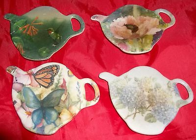 Set of 4 Tea Pot Shaped Tea Bag Holders Made in Italy~Collectors