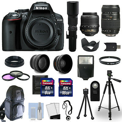 Nikon D5300 SLR Camera Body + 5 Lens Kit: 18-55mm VR + 70-300mm + 500mm and More