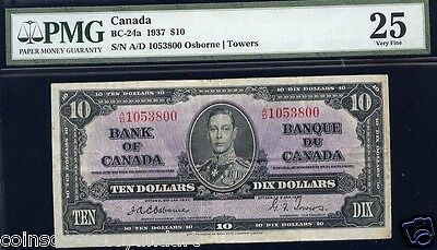 1937 Bank of Canada $10 PMG GRADED VF25 Osborne Towers Scarce Beautiful Banknote