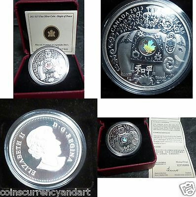 Maple of Peace $15  Silver  2013 Canada - Elephant carrying a vase -GOOD Luck