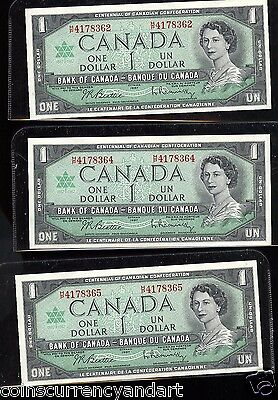 GREAT EMBOSSING 2+ 1 Consecutive 1967 Bank of Canada HIGH QUALITY please SEE PIC