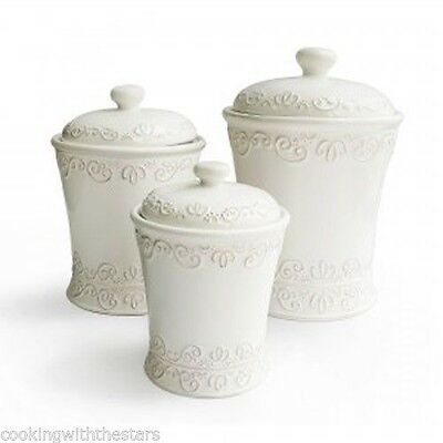 American Atelier BIANCA SCROLL Tuscan White Ceramic 3 PC. Kitchen Canister Set