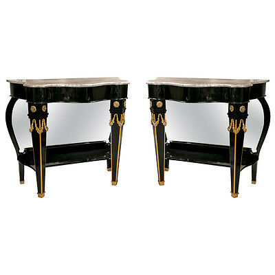Pair of Maison Jansen Mirrored Back Consoles 101-5479