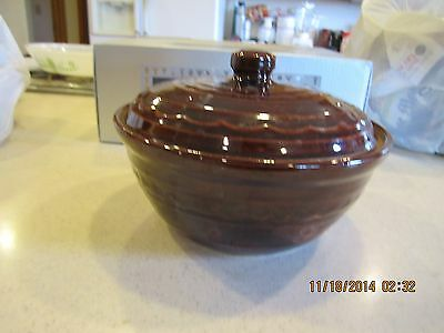 Vintage Marcrest Oven Proof Daisy Dot Brown Stoneware Bowl w/Lid Casserole dish