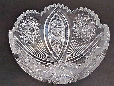 "American Brilliant Period Cut Glass  ABP  Antique 8"" bowl mouth blown"