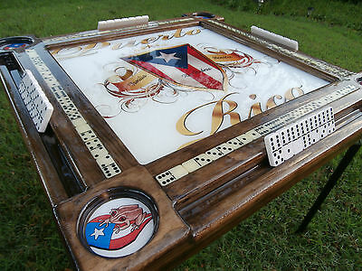 Domino Tables by Art with Puerto Rican Pride Top & Coqui Cupholders Personalized