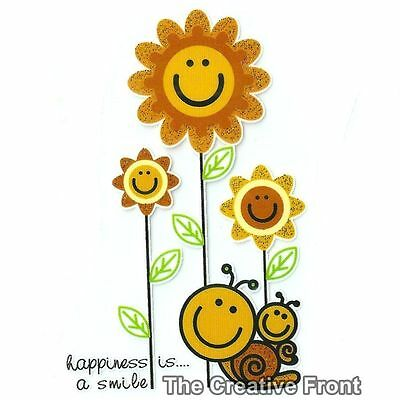 Happiness is a Smile Sunflowers & Snails - Iron On Glitter Heat Transfer - NEW