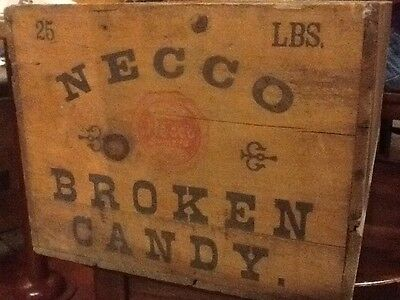Antique 25 lbs. BROKEN CANDY c1902 Necco Sweets Wood Crate