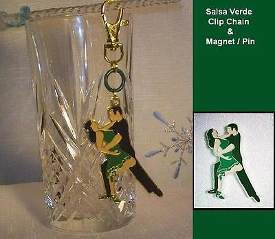 "Unique Ballroom Dance Gifts /Clip Chain & Magnet  ""Salsa Verde ""- Green & Black"