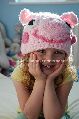 Peppa pig hat, crochet pig hat, 0-3 months size, newborn photo prop or baby gift