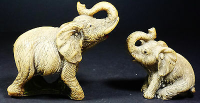 2 Small Brown Elephants Mother & Baby Resin