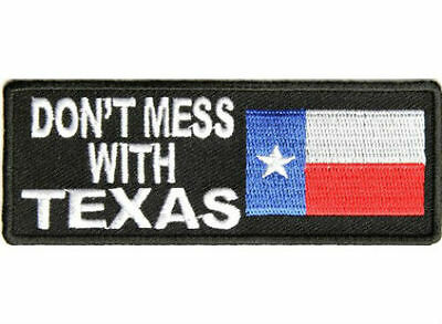 Don't Mess With Texas Embroidered Iron On Biker Patch Motorcycle Jacket Vest