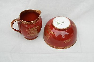 CROWN STAFFS FOR T GOODE, RED AND GOLD DRAGON DESIGN SUGAR BOWL AND CREAMER