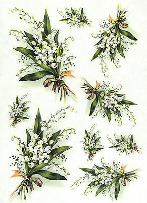 Rice Paper for Decoupage, Scrapbook Sheet, Craft Paper  Lily of the Valley