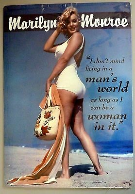 """Marilyn Monroe """"Woman In a Man's World"""" Swimsuit PinUp Girl Tin Metal Sign 11x17"""
