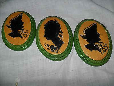 Vintage Victorian Chalkware Wall Plaques, 3 Oval Silhouettes: Lady, 2 Gentlemen