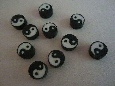 Black & White Ying Yang Fimo Clay Disk Beads 10mm 15pc