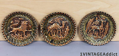 Vtg Islamic Hand Forged  Animal 3  Plate Set Middle Eastern Ashtray Syria