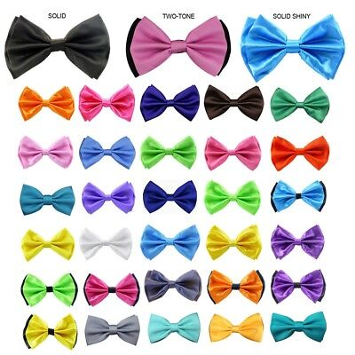 Plain Solid Bow Tie Dance Formal Tuxedo Two Tone Pre Tied Adjustable Classic New