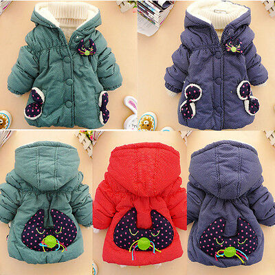 Christmas Girls Kids Baby Cute Cat Polka Dot Coat Jacket Snowsuit Hoodie Outwear