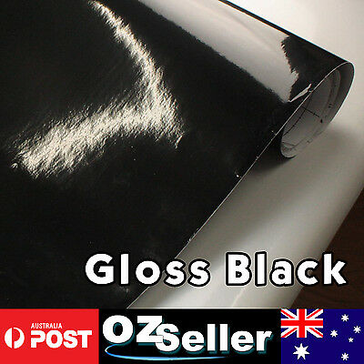 1.51 x 0.3M Gloss Black Vinyl Film Roll Sheet Car Sticker Wrap Overlay Decal DIY